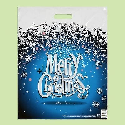 Pack of 50 ECO Snow-Flake Printed Blue Plastic Carrier Bags