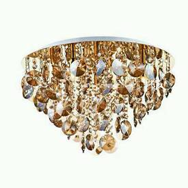 DAR JES5440 Jester Antique Gold 5 Lamp Round Flush Light with Amber Crystal Drops