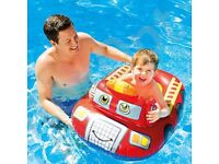 FIRE ENGINE STYLE LITTLE BOAT FLOAT ideal for paadling pool,swimming pool or at the beach