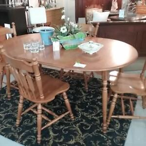 Roxton solid maple dining set... chairs need some TLC