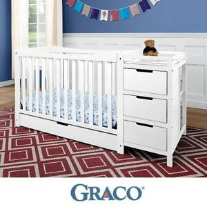 NEW GRACO REMI 4 IN 1 CHANGER CRIB - 126025924 - WHITE FINISH DRAWERS TRUNDLE ROLL OUT DRAWER CRIBS BABIES CHANGERS