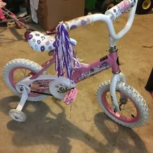 Girls bike with training wheels  Age 4 +