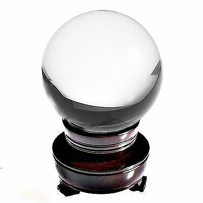 "5in"" 130mm Clear Quartz Crystal Ball With Wood Stand -TOP USA SELLER"