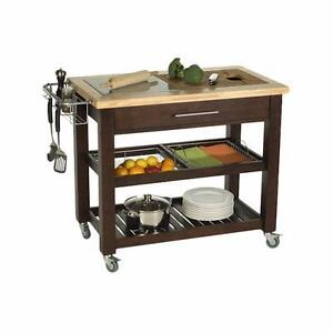 Pro Chef Kitchen Island with Granite and Wood Top by Chris & Chris NEW