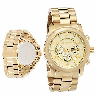 Michael Kors MK8077 Gold Oversized Runway Chronograph Watch