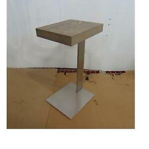 NEW* VERRAZANO COCKTAIL SIDE TABLE 61390953 GRY 241705237 RESTORATION HARDWARE GREY OAK BRUSHED PEWTER