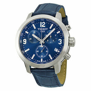 PRC 200 Chronograph Blue Dial Blue Leather Mens Watch T055417160