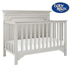 NEW BABY RELAX EDGEMONT BABY CRIB 216000384 CONVERTIBLE 5 IN 1 SOFT GRAY DAYBED FULL SIZE BED