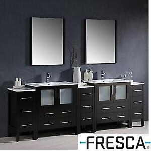 NEW FRESCA TORINO BATRHOOM VANITY FVN62-96ES-UNS 182295074 96'' DOUBLE WITH MIRRORS AND SIDE DRESSERS