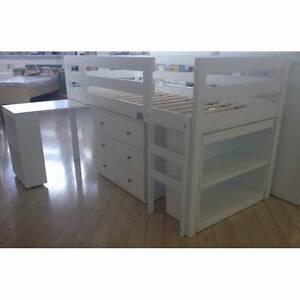 Single loft bed with desk, drawers and bookcase Caringbah Sutherland Area Preview