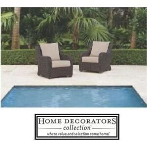 NEW HDC PATIO LOUNGE CHAIRS 2PK - 125091832 - HOME DECORATORS COLLECTION - 2 PACK - SUNSET COLLECTION OUTDOOR FURNITU...