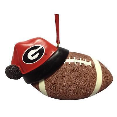 Georgia Bulldogs NCAA Santa Hat Football Ornament