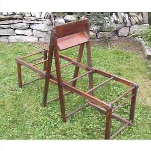 Antique wooden folding double wash tub stand
