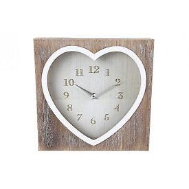 Lime Wash Heart Clock - PRODUCT SIZE APPOX: 25X25X6CM. £13.15 Plus P&P