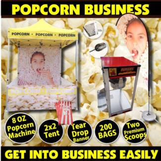POPCORN START UP BUSINESS - MACHINE, TENT AND TEAR DROP BANNER!