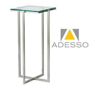 NEW ADESSO GLACIER TALL PEDESTAL SATIN STEEL FRAME - TEMPERED GLASS TOP 102710755