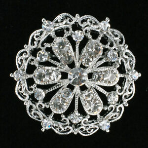 Wedding Brooch : Round Crystal Rhinestone Design (NEW!) $15