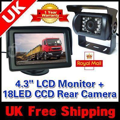 "CAR REAR VIEW KIT For Bus Long Truck 4.3"" LCD MONITOR +IR REVERSING CAMERA 18LED"