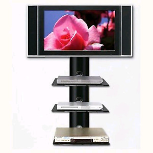 Swivel TV Wall Mount With Triple Glass Shelf