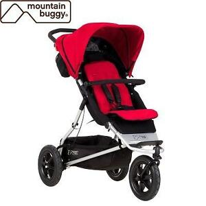 NEW MOUNTAIN BUGGY BABY STROLLER PLUS ONE INLINE DOUBLE STROLLER WITH SECOND SEAT - BERRY 102072768
