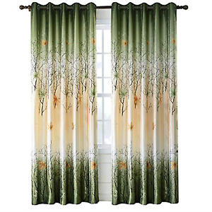 Green Leaf Tree Curtains Living Room - Anady Top 2 Panel Green/Orange Maple  Leaf
