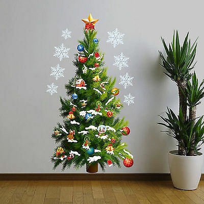 Even tackier - and less messy - than a fake Christmas tree: a Christmas tree wall decal! (Look closely!)