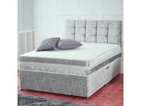 Crushed velvet bed with mattress