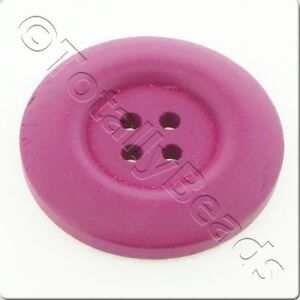 30mm 4-hole round wooden buttons - 12 colours to choose from - 6pcs