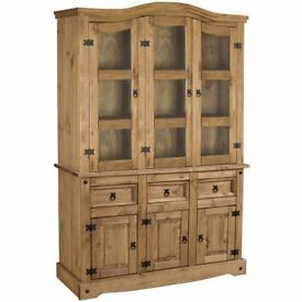 New Solid Cheap Corona Mexican Pine 4.5 ft wide glazed dresser £329 FULLY BUILT IN STOCK NOW