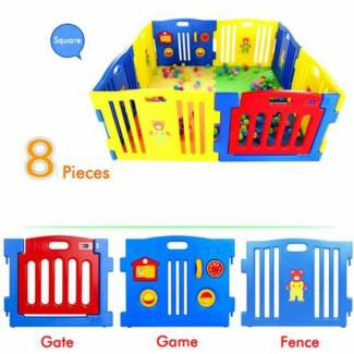 Baby Playpen with Safety Gate & Toys Fun 8 10 12 pcs