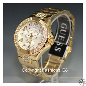GUESS LADIES GOLD PRISM SWAROVSKI STAINLESS WATCH G13537L