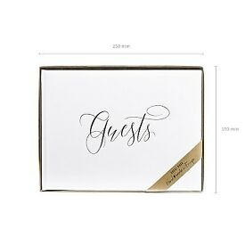 Guest book bound in white paper with a silver inscription Guests - £19.35 Plus P&P