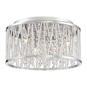 Beautiful Crystal Chrome Finish Mount Ceiling Light