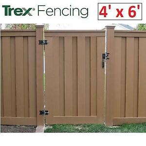 NEW TREX COMPOSITE FENCE GATE SDFGATE 246916423 4 x 6 SECLUSIONS SADDLE BROWN PRIVACY