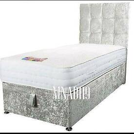 Crush Velvet Grey Ottoman Storage Bed