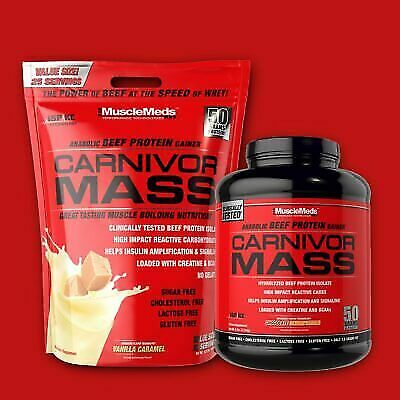 MuscleMeds CARNIVOR MASS 6 or 10 lbs Beef Protein Gainer - P