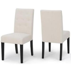 2 NEW FABRIC SIDE DINING CHAIRS - 134148480 - ARMLESS IVORY