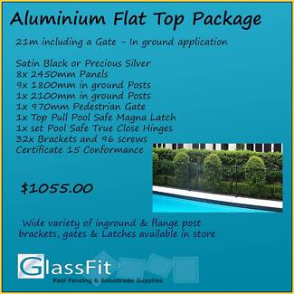 Aluminium Flat Top – In ground - 21m Package Inc. Gate