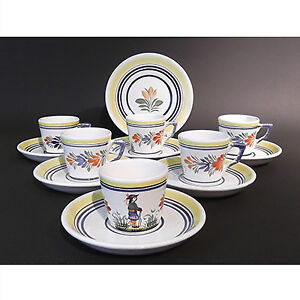 Henriot Quimper set of 6 demitasses with matching saucers