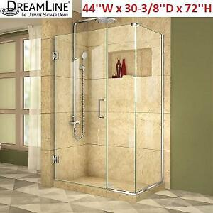 NEW DREAMLINE SHOWER ENCLOSURE SHEN-24440300-01 219246796 30'' x 44'' x 72'' FRAMELESS UNIDOOR PLUS HINGED CHROME