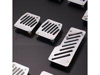 BLACK RUBBER GRIP ALLOY PEDAL SET - ALUMINIUM SPORTS CAR FOOT PEDALS - 3 PCE KIT