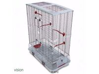massive white metal bird cage with a very nice double shelf stand toys BARGAIN!