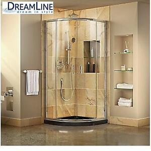 NEW* DREAMLINE SHOWER ENCLOSURE DL-6701-89-01 224855497 CLEAR FRAMED BLACK BASE 33'' x 33''