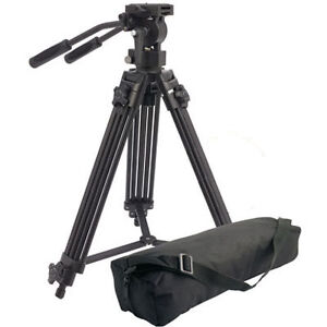 Camlink TPVIDEO1 Pro Video Tripod + Double Pan and Tilt Fluid Head + Carry Bag