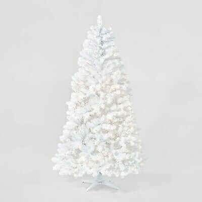7ft Pre-lit Artificial Christmas Tree White Alberta Spruce Clear Lights - Wonder