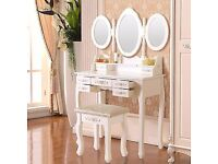 White Chic Vanity Makeup Dressing Table with 7 Drawers, 3 Mirrors, Stool Bedroom