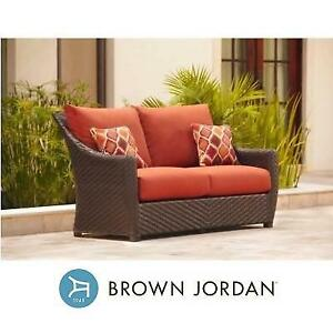 NEW BROWN JORDAN PATIO LOVESEAT M10035-LV-4 179873697 HIGHLAND RED CUSHIONS