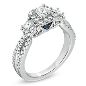 Vera Wang 0.95 CT.TW. 3 Stone Engagement Ring in 14K White Gold