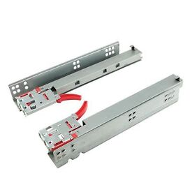 Motion Base Mount Drawer Runner - Soft Close - Double Extension - 350mm - Zinc