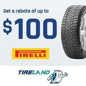 Rebate of up to 100$ or 125 CAA dollars with the purchase of 4 selected Pirelli tires